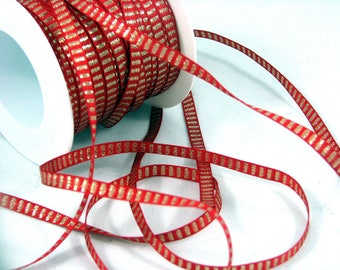 Ribbon 6 mm red and gold by the yard