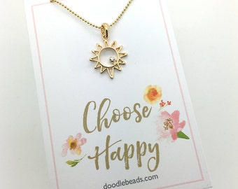 "Sun Necklace, gold or silver Sunshine Necklace, Small Sun Charm Necklace - choose in a gift box or carded gift ""Choose Happy"" quote card"