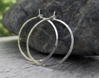 0.75 inch, Sterling Silver Hoop Earrings, Hammered Hoop Earrings, Small Hoops, Plain Hoops, Modern Jewelry, Simple Hoops, Argentium Sterling