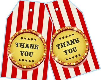 Бирки Цирк, Карточки Цирк/ Carnival Thank You Tags, Circus Birthday Favor Tags, Carnival Tags