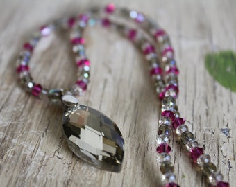 Grey Crystal Marquis Pendant Necklace with Fuchsia Swarovski Crystal / Pink and Grey / Crystal Necklace / Gifts for Her / Gifts for Women