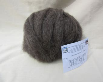 4 oz. Med Rose Grey Alpaca Roving -  for Spinning, Nuno Felting or Needlefelting