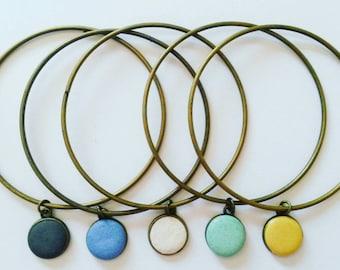 Concrete bracelet, blue concrete bracelet, concrete bangles, minimal bracelet