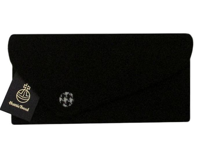 Harris Tweed Asymmetric Jet Black with Houndstooth Detail Clutch Bag