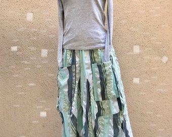 Seersucker lagenlook big pocket skirt