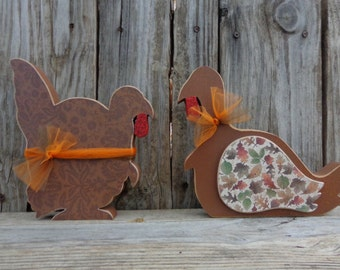 Turkey Decor- Thanksgiving Decor- Fall Decor- Autumn Decor- Chunky Turkey set