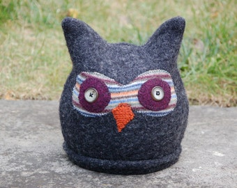 Upcycled 100% Felted Wool Sweater Owl Hat