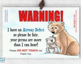Airway Defects Please Don't Touch Me Car Seat Carrier Sign for Baby, Toddler