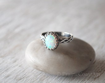 Oval Opal Ring in Sterling Silver - Handcrafted Artisan Silver Ring  - Sterling Silver Opal Ring - October Birthstone