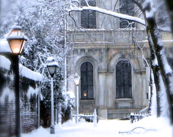 Winter Photography, Old Buildings, Urban Art Print, Atmospheric Art, Snow Photography, Philadelphia Gaslamp, Winter Photo, Landscape Print