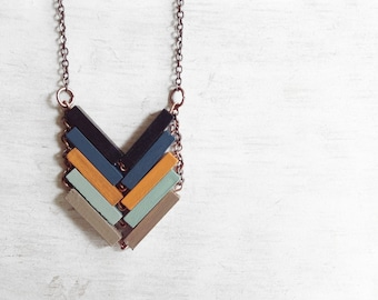 Geometric Necklace // HERE COMES The SUN // Minimal Jewelry // Beige Mint Hand-Painted Necklace // Modern Necklaces // Chevron Necklace