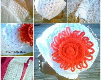 0096 Thistle Rose Pattern,Hat Pattern,Three Glove Variation Pattern,Rosette Stitch Pattern,Ladies Scarf,Winter Pattern,6PC Pattern Set