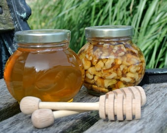 Father's  Day Gift Set, Raw Honey Jar & Walnuts Gift Set, Edible Birthday Gifts