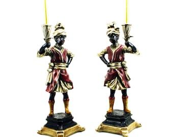 Pair of Victorian Blackamoor Ceramic Sculptures