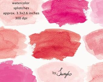 Watercolor Clip Art, Watercolor Splotches, Watercolor Strokes