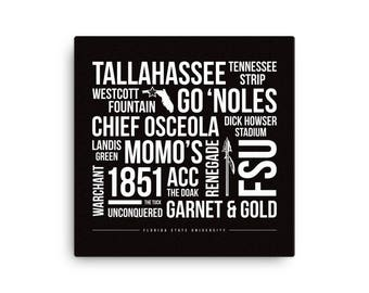 Florida Seminoles Typography Art on Gallery Wrapped Canvas