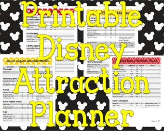 Instant Download Printable Disney Planner Attraction List and Fast Pass Planner