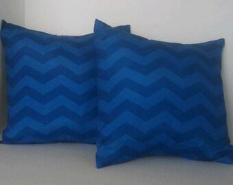 Blue Chevron Pillow Covers