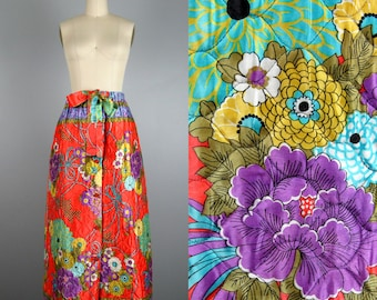 Vintage 1970s Quilted Skirt 70s Psychedelic Funky Orange Floral Maxi Skirt Size M