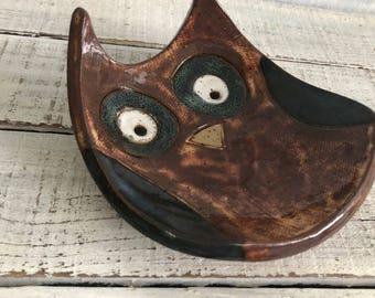 Ceramic Owl Bowl- Owl dish -Owl Bowl- Jewelry Holder - Original - Jewelry Dish- Spoon Rest- Soap Dish- Trinkets- Holiday Gift- owl pottery