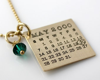 Personalized Calendar Necklace - Gold Filled Mark Your Calendar Necklace with Swarovski Crystal personalized - brushed finish