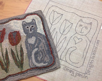 "Rug Hooking KIT, Tulip the Cat, 14"" x 14"", Primitive Rug Hooking, K103, DIY Rug Hooking, Folk Art Cat Mat DIY"