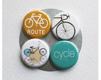 Bike Fridge Magnet Set 1.25 Inch Set of 4 Magnet Pack