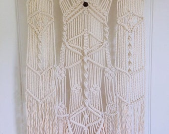 Wall hanging Macrame knotted cotton rope/ Medium macrame wall hanging/ one of a kind feature wall boho decor/ Ready to Ship