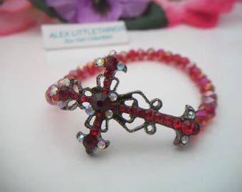 Red Sideways Cross Stretch Bracelet Rhinestone Iridescent Beaded Jewelry Fashion Accessories