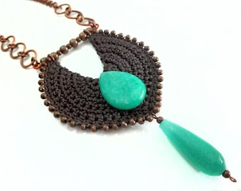 Crochet tribal necklace, fiber Native and African inspired neck piece, ethnic afro boho statement necklace, unique brown aqua cotton pendant