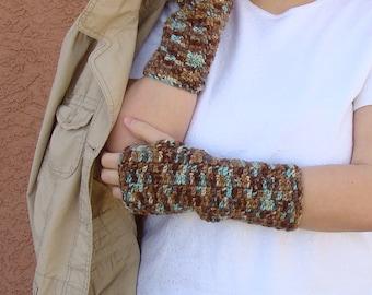 Driftwood Fingerless Gloves for Men or Women, Light Blue and Brown, Crochet, Crocheted Fingerless Gloves, Mittens, Arm Warmers MADE TO ORDER