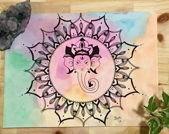 Ganesha Watercolor Mandala Painting