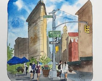 ORIGINAL. Urban sketch. Flatiron, New York, USA.