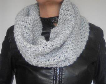 Wool crocheted cowl; grey glitter; hand made