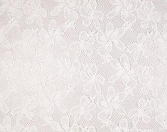 """White Noble lace flocked leaves pattern lace fabric fabrics, """"fabrics-City"""", 4392"""