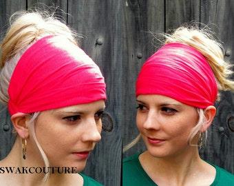 Wide Head Wrap Hot Pink Fitness headband Turban Cotton Jersey Headband Wide Headband Yoga Workout Chemo Head Wrap or CHOOSE Your Color
