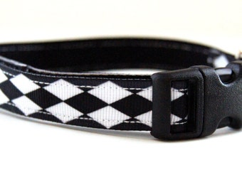 Last Chance! Spring Clearance Sale! Black and White Diamond Dog Collar Adjustable Sizes (XS, S, M)