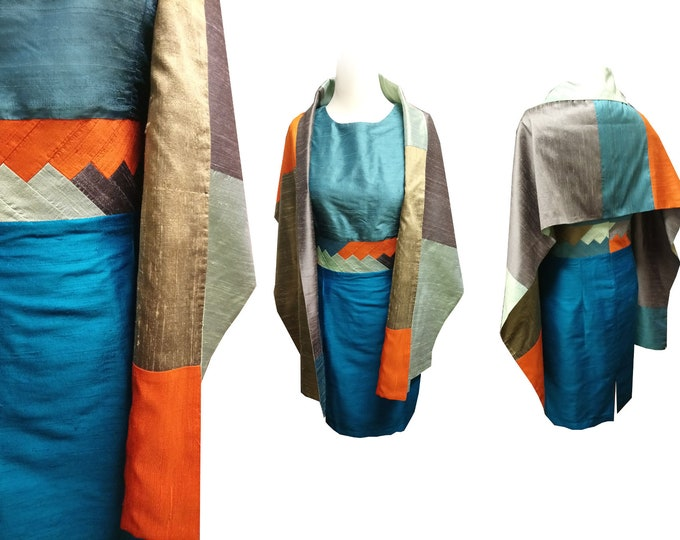 Silk Set Shiftdress and Stole colored in INDIAN MOVE