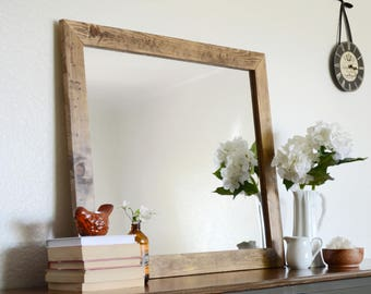 Wooden Mirror - Wall Mirror - Large Wood Mirror - Rustic Mirror - Free Shipping