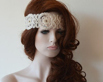 Wedding Lace Headband, Lace Wedding Head Piece, Ivory Lace Headband, Wedding Hair Accessory,  Bridal  Headband,  Bridal Hair Accessories