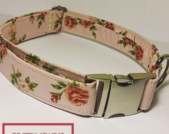 Dog Collar, Dusty Pink, Vintage Syle, Floral, Handmade Adjustable Dog Collar