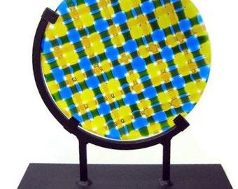 Art Glass Sculpture Round Blue Yellow Kaleidoscope Artist Signed