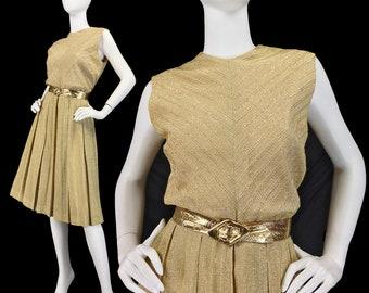 Vintage 60s Gold Lurex Dress M L, 1960s Mod Dress, Chevron Dress, Pleated Midi Dress, Sleeveless Dress, Mod Dress, Jackie O, SIZE M L 10 12