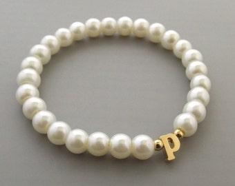 Flower Girl Gift -Gold Lowercase Initial Bracelet For Kids•Personalized Flower Girl Bracelet • Baby Child Infant Toddler Stretch Bracelet