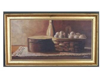 Country Egg Basket, Shaker Box, Stone Milk Jug, Farmhouse Still Life, Original Oil by J Furse