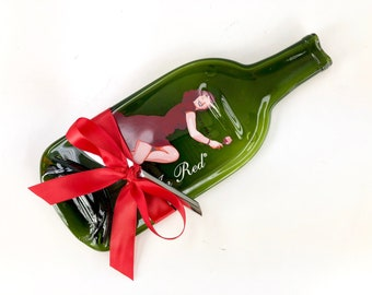 Melted Bottle Cheese Tray Kestrel Lady in Red Wine Lover Gift Hostess Housewarming Present, Washington State Vineyard