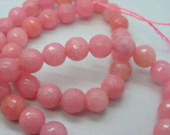 46-47 agate 8 mm faceted with beautiful pale pink color