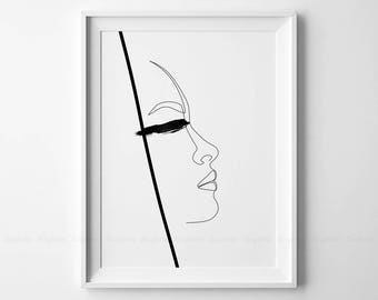 Single Line Art Print : Printable two abstract faces drawing fine one line art print