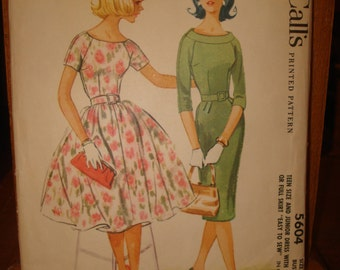 1960 Puffy Skirt Dress or Slim Fitted Skirt Dress Sewing Pattern Jr. Size 13 McCalls #5604