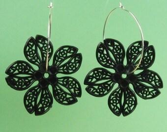 Vintage Black Lucite Flower Hoop Earrings
